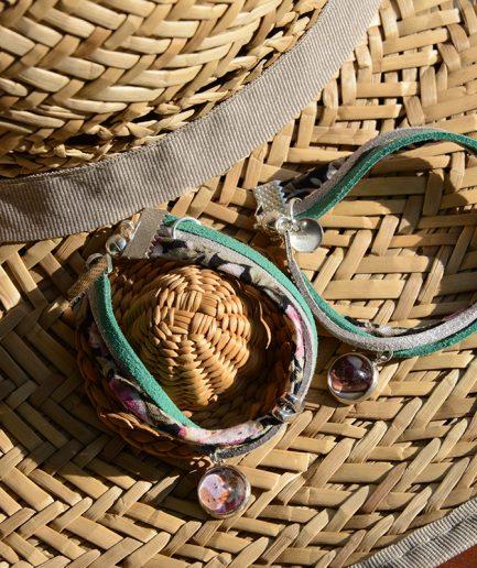 Duo Bracelets Flower rose vert et argent paillete