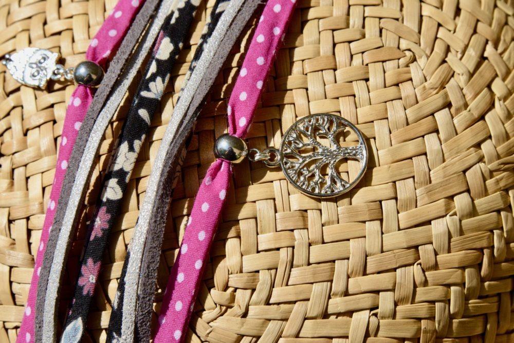 duo-bracelets-flower-rose-pois-coton-cuir-idee-cadeau-mere-fille