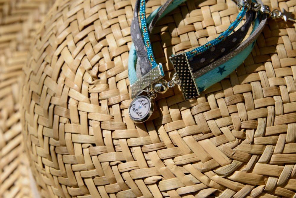 duo-bracelets-Star-vert-eau-pois-coton-cuir-idee-cadeau-mere-fille