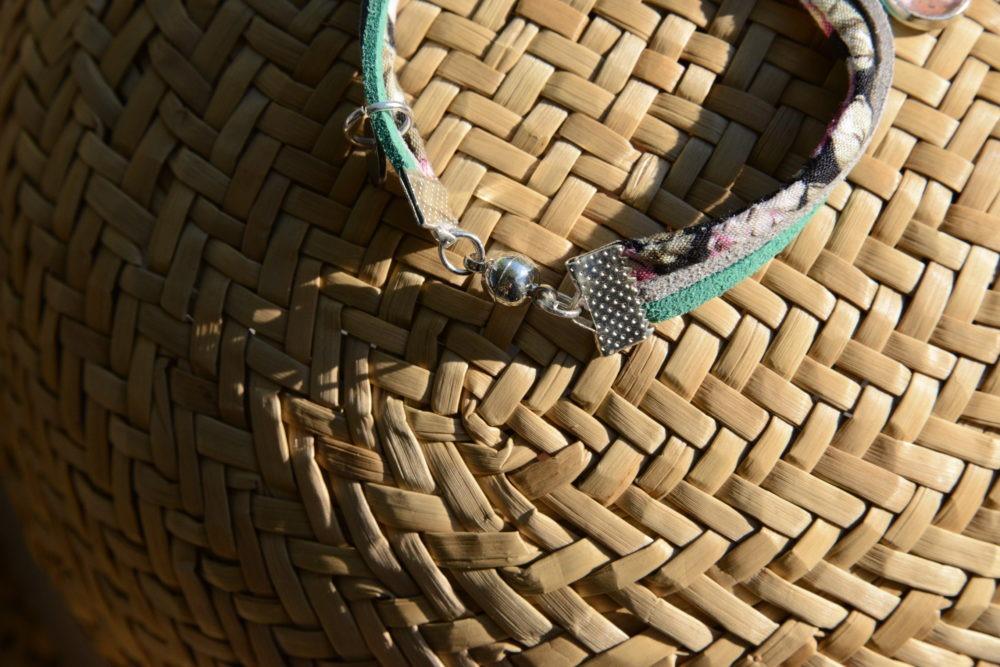 duo-bracelets-Flower-rose-noir-vert-coton-cuir-idee-cadeau-mere-fille
