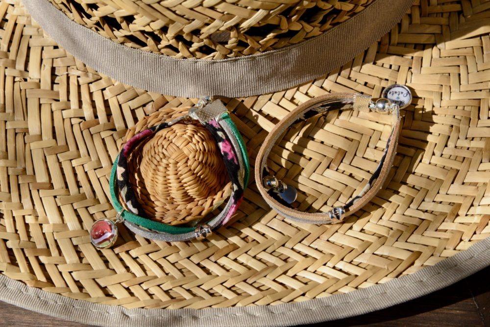 duo-bracelets-Flower-rose-noir-vert-beige-coton-cuir-idee-cadeau-mere-fille
