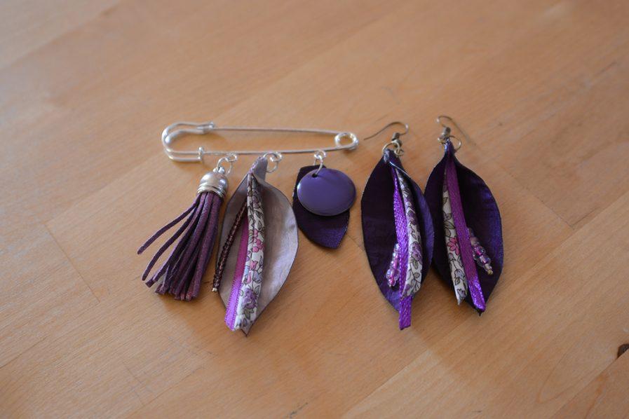 Duo-epingle-boucle-oreille-violet-idee-cadeau-bijoux-mere-fille