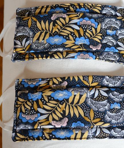 Duo Masque de protection tissu fait-main Adulte-fleurs-bleues