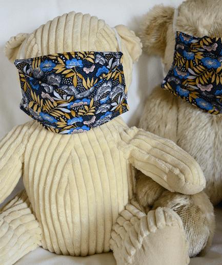 Duo Masque de protection tissu fait-main fleurs-bleues-adultes