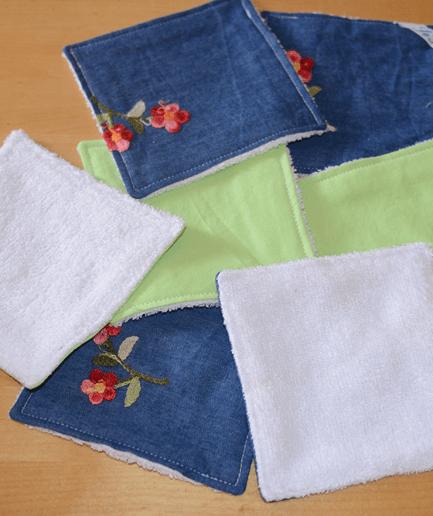 Lingettes démaquillantes lavables bio Pochon de 7 lingettes motif Jean