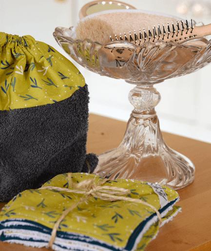 Pochon de 7 lingettes démaquillantes lavables Bi-matières Coton:éponge