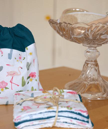 Pochon de 7 lingettes démaquillantes lavables flamant-rose