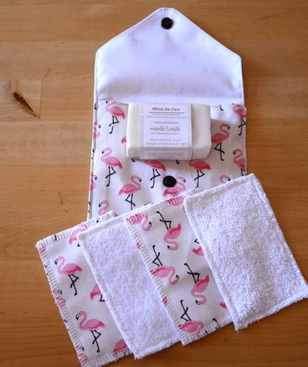Pochettes Brin de Toilette Maman Bout'd'chou Flamands Roses